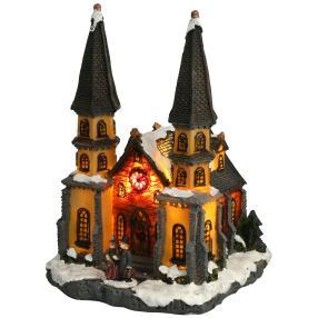Kirche mit Beleuchtung, 18 x 16 x 23 cm