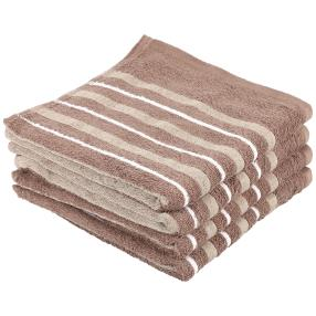 Superflausch Handtuch, beige, Streifen, 4er-Set