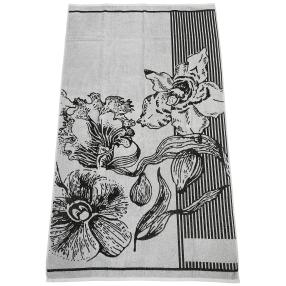 Velours-Strandlaken, grau, Blumen, 86 x 160 cm