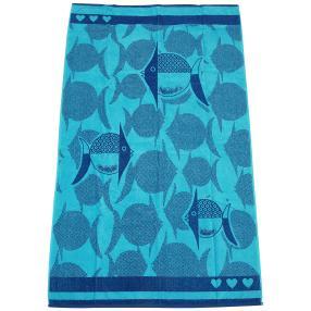 Velours-Strandlaken, blau, Fische, 86 x 160 cm