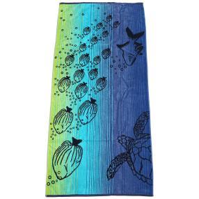 Velours-Strandlaken, blau-grün Fische, 75 x 150 cm