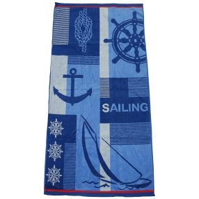 Velours-Strandlaken blau, maritim, 75 x 150 cm