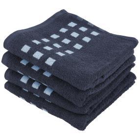 Superflausch Handtuch, blau, 50 x 100 cm, 4er Set