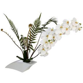 Orchideenarrangement in Keramikschale, weiß, 50 cm