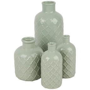 Keramikvasenset, mint, 25 cm und 15 cm, 4-teilig