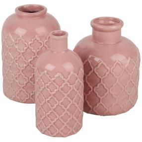 Keramikvasenset, rosé, 15 cm, 3-teilig