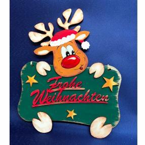 """Türschild Rentier """"Frohe Weihnachten"""""""