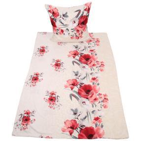 AllSeasons Bettwäsche, rot-graue Blumen, 4-teilig