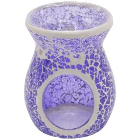 Duftlampe für Teelicht aus Glas und Keramik lila