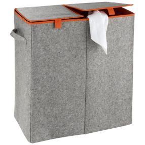 WENKO Wäschesammler Duo Fil Orange