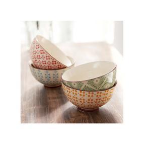 BELACONA Keramik-Schalen-Set, 4-tlg. Retro Bunt