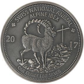 Alpensteinbock Silbermünze