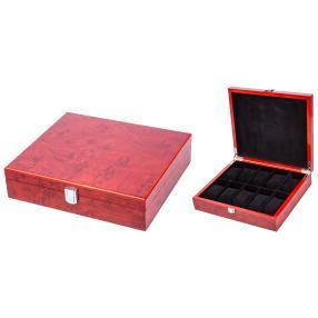 Uhrenbox für 10 Uhren, rotbraun/schwarz