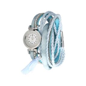 Crystal blue Wickelarmbanduhr