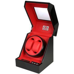 deLorean 2er Uhrenbeweger Klavierlack schwarz rot