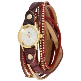 Crystal blue Damen-Wickelarmbanduhr bordeaux Quarz