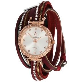 Crystal blue Damen-Wickelarmbanduhr bordeaux