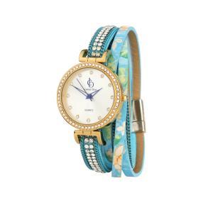 Crystal blue Damen-Wickelarmbanduhr Kristalle