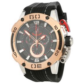 ISW Herren-Chronograph schwarzes Silikonband