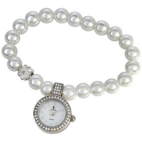Crystal Blue Perlen-Damenuhr Flexband Kristalle
