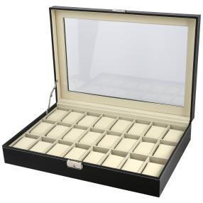 Uhrenbox für 24 Uhren, PU Leder, schwarz