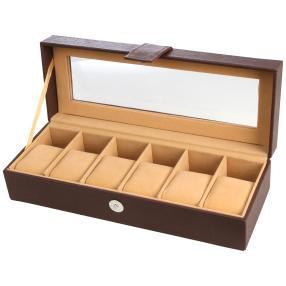 Uhrenbox für 6 Uhren aus PU Leder, braun