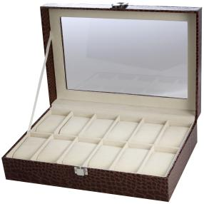 Uhrenbox für 12 Uhren aus PU Leder, braun