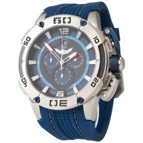 ISW Herren-Chronograph Silikonband blau