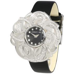 CERRUTI Damenuhr mit Kristallen Lederband schwarz