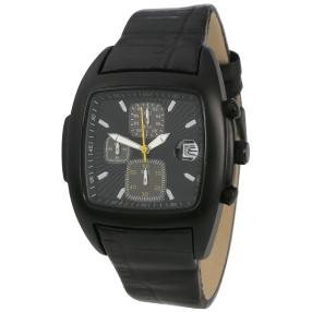 Herren-Chronograph schwarz mit Lederband