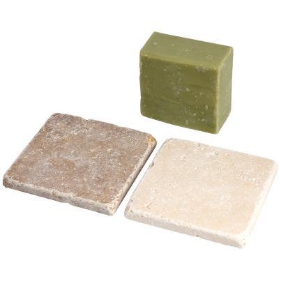 Olivenölseife grün 200g +2er Set Seifenablage
