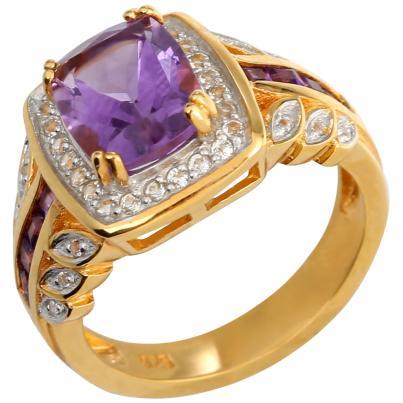 Ring 925 Sterling Silber vergoldet Amethyst