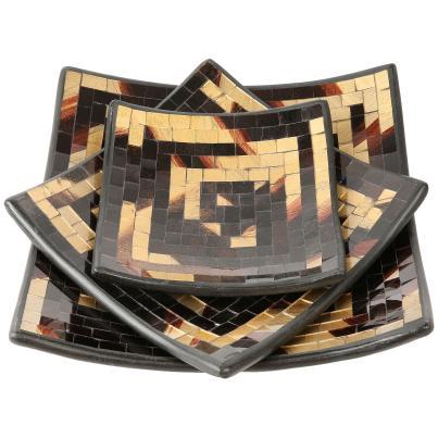 Darimana Mosaik-Schalen 3tlg. gold-braun