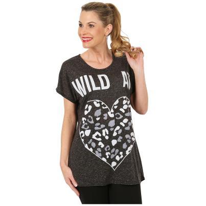 Damen Shirt 'Wild Heart' schwarz melange