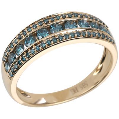 Ring 585 Gelbgold Brillanten blau