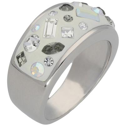 Ring 925 Sterling Silber Swarovski Elements grau