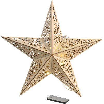 LED Holzstern mit Ornamentmuster, 40 cm