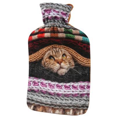 Wärmflasche Katze bunt/braun, 2 Liter Füllmenge