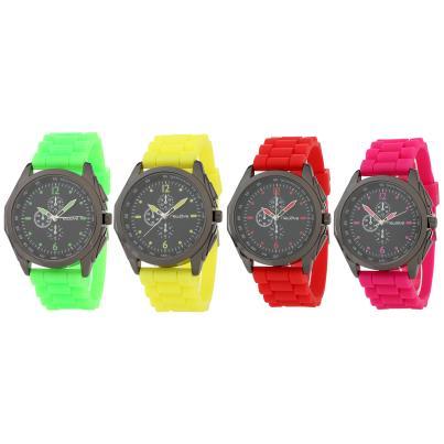 Newave 4er Uhrenset,Pink, Gelb, Rot, Grün