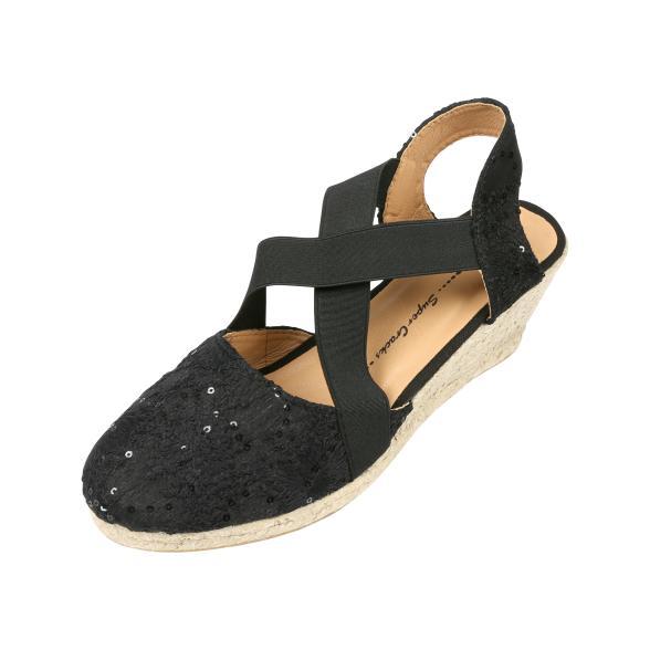 SUPER CRACKS Damen-Keil-Sandalen UVA, schwarz