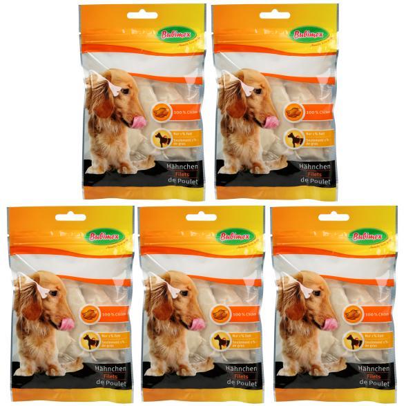 Bubimex Hächnchenbrustfilets für Hunde, 5-teilig