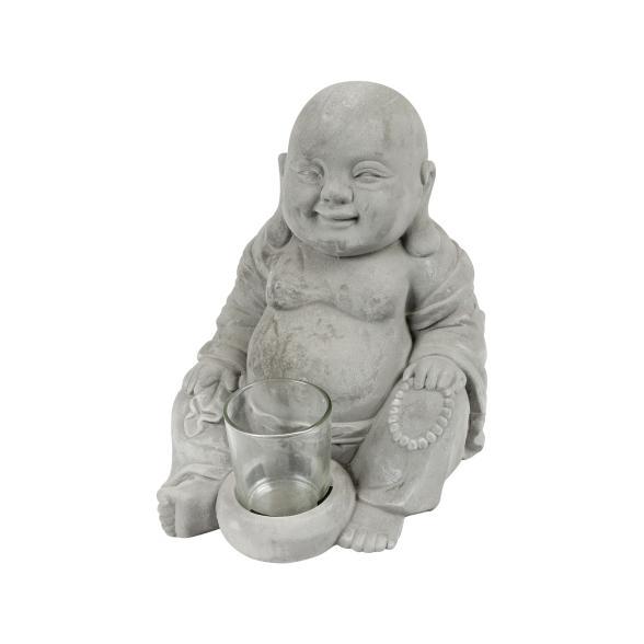 Großer Buddha mit Teelichtglas, grau