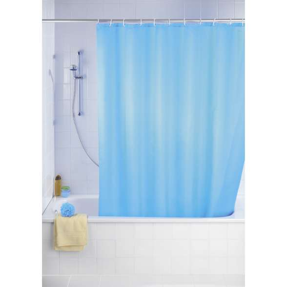 WENKO Anti-Schimmel Duschvorhang Uni Light Blue