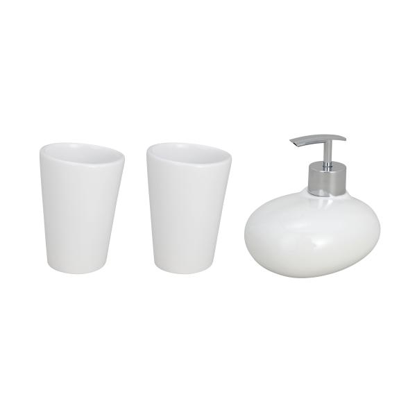WENKO Bad-Accessoire-Set Pebble Stone White