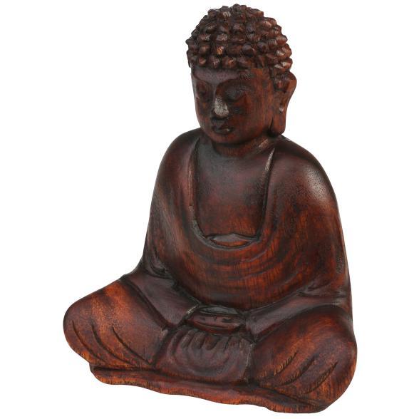 Darimana Meditationsbuddha aus Suarholz, 15 cm