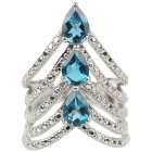 Ring 925 Silber, London Blue Topas behandelt Gr. 19 - 14902610403 - 2 - 140px
