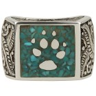 Ring 925 Sterling Silber Türkis stabilisiert Wolf Gr. 22 - 15006710505 - 2 - 140px